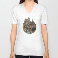 buildings V-neck T-shirts featuring Buildings by Protogami