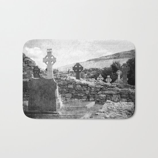 Halloween Graveyard | Horror | Black and White Cemetery | Gothic Graves | Bath Mat