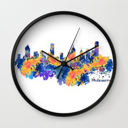Melbourne Watercolor Skyline Wall Clock