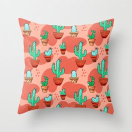 Potted Cactus Pattern Throw Pillow
