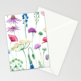 Watercolor wildflowers pattern. Stationery Cards