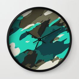 green and grey painting abstract background Wall Clock