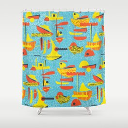 Abstract Boats inspired by midcentury 1950s design Shower Curtain