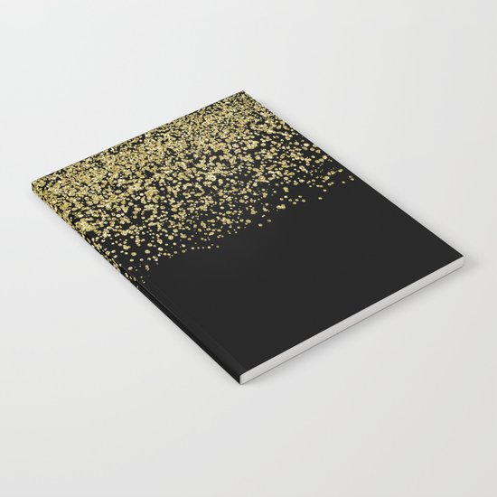 Sparkling gold glitter confetti on black background- Luxury pattern Notebook