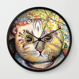 Smokey ... abstract cat art animal pet painting Wall Clock