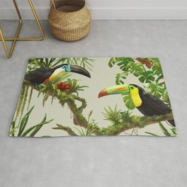 Toucans and Bromeliads (Canvas Background) Rug