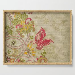 Raw Linen Texture Vines and Flowers // Art Nouveau Butterfly Serving Tray