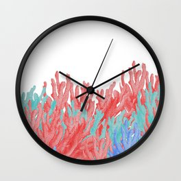 Modern nautical coral blue teal floral reef Wall Clock