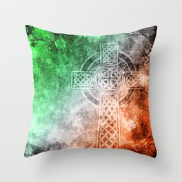 Irish Celtic Cross Throw Pillow
