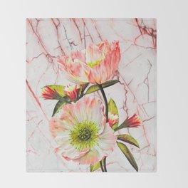Flowering on pink marble Throw Blanket