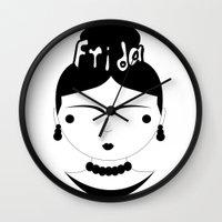 frida Wall Clocks featuring Frida by stavrina inno