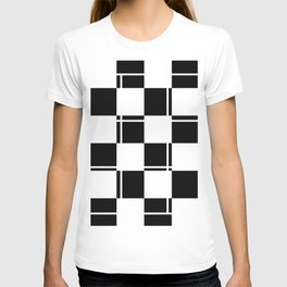 Black and white squares, crosses and lines T-shirt