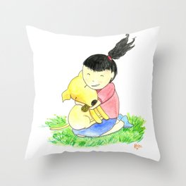 Bia and Little Bread Hugging Throw Pillow