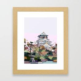 Geometric Osaka castle, Japan Framed Art Print