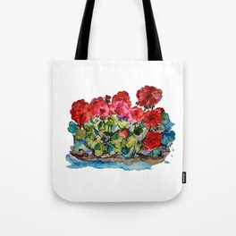 Red Geraniums painting Tote Bag