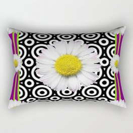 Modern Style Shasta Daisies Purple Rectangular Pillow