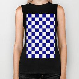 Checkered - White and Dark Blue Biker Tank
