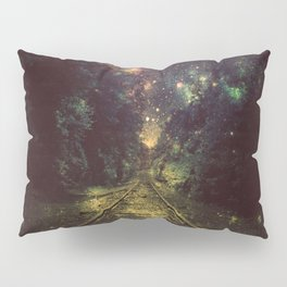 Train Tracks Next Stop Anywhere Dark Pillow Sham