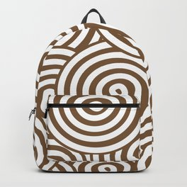 Brown and White Hypnotic Circle Pattern - Sherwin Williams 2022 Color Uber Umber SW 9107 Backpack