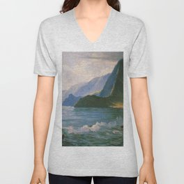 Under the Cliffs of Molokai, Hawaiian landscape painting by D. Howard Hitchcock Unisex V-Neck