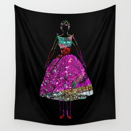 Audrey Pink Glitter Dress Wall Tapestry
