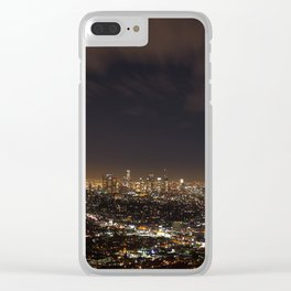 Downtown Los Angeles Skyline at Night Clear iPhone Case