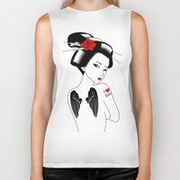 angel wings Biker Tanks featuring Geisha with Angel Wings by Neo X Kyo