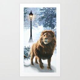 Aslan and the Lamppost Art Print