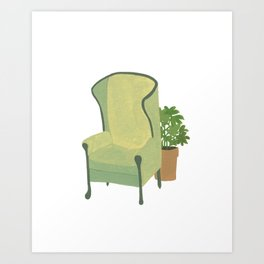Green armchair with plant Art Print