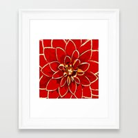 dahlia Framed Art Prints featuring Dahlia by Saundra Myles