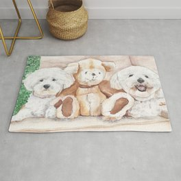 Two Bichons and A Friend Rug