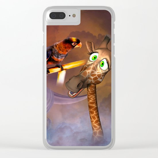 Funny cute giraffe with parrot Clear iPhone Case