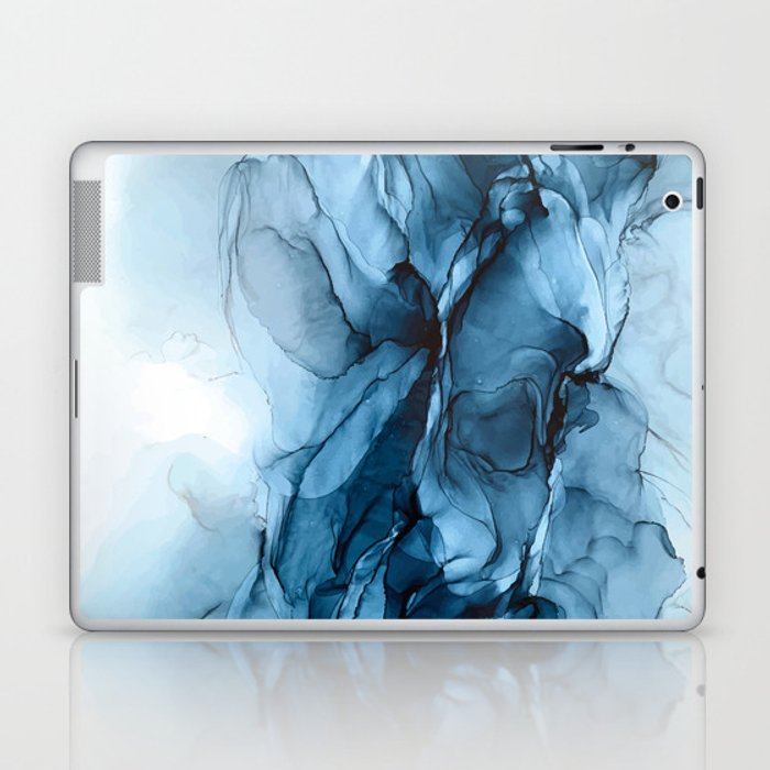Deep Blue Flowing Water Abstract Painting Laptop & iPad Skin