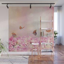 Gulf Fritillary butterflies feed in a rose garden Wall Mural