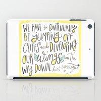 kurt rahn iPad Cases featuring jumping off cliffs - kurt vonnegut quote by Shaina Anderson