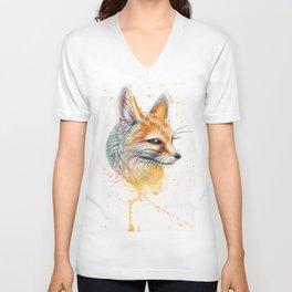 Splatter Paint Fennec Fox Unisex V-Neck