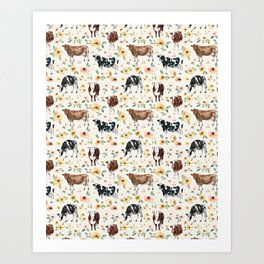 Cows with Pink and Yellow Flowers on Cream, Cow Illustration, Floral Art Print