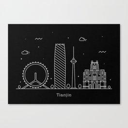 Tianjin Minimal Nightscape / Skyline Drawing Canvas Print