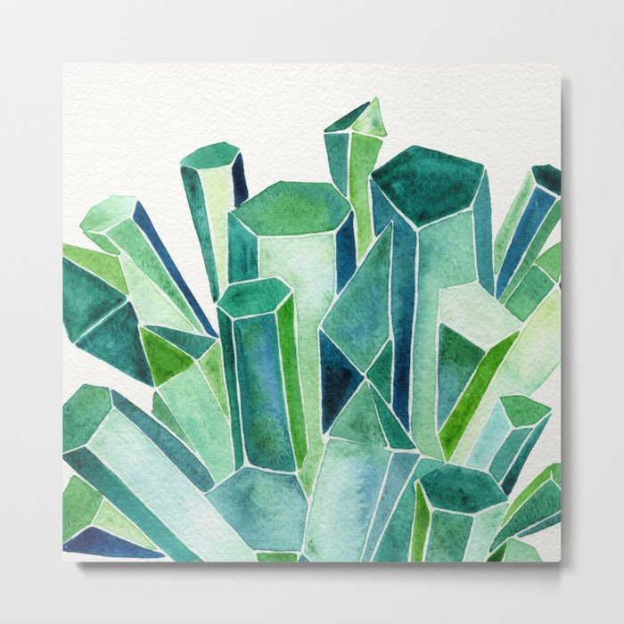 Emerald Watercolor Metal Print