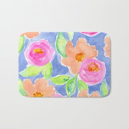 """Colorful Watercolor Flowers, Pink and Peach Flowers """"Let's Have a Picnic"""" Bath Mat"""