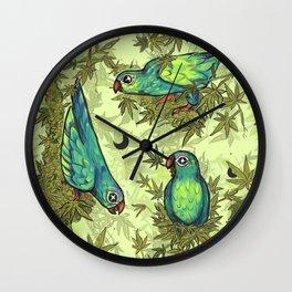 Parrots & Weeds Wall Clock