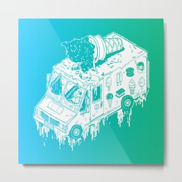 Melty Ice Cream Truck - Mint Metal Print