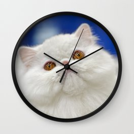 Young white cat Wall Clock