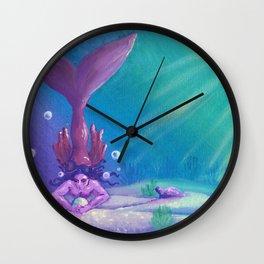 Mermaid Treasure Hunt by Mary Bottom Wall Clock