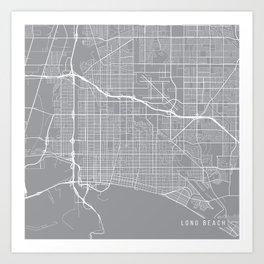 Long Beach Map, California USA - Pewter Art Print