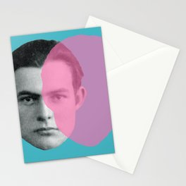 Hemingway - portrait pink and blue Stationery Cards