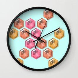 Summer Gradient Hexagon Gemstones Wall Clock