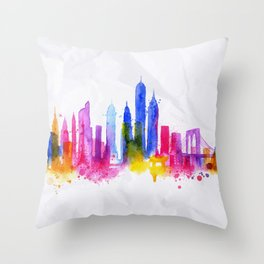 Silhouette overlay city New york Throw Pillow