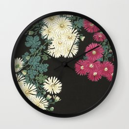 Chrysanthemums and Running Water Wall Clock