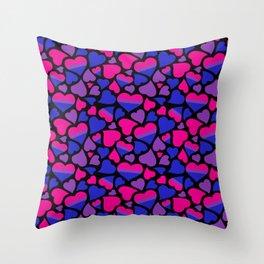 Bi Pride Hearts Throw Pillow